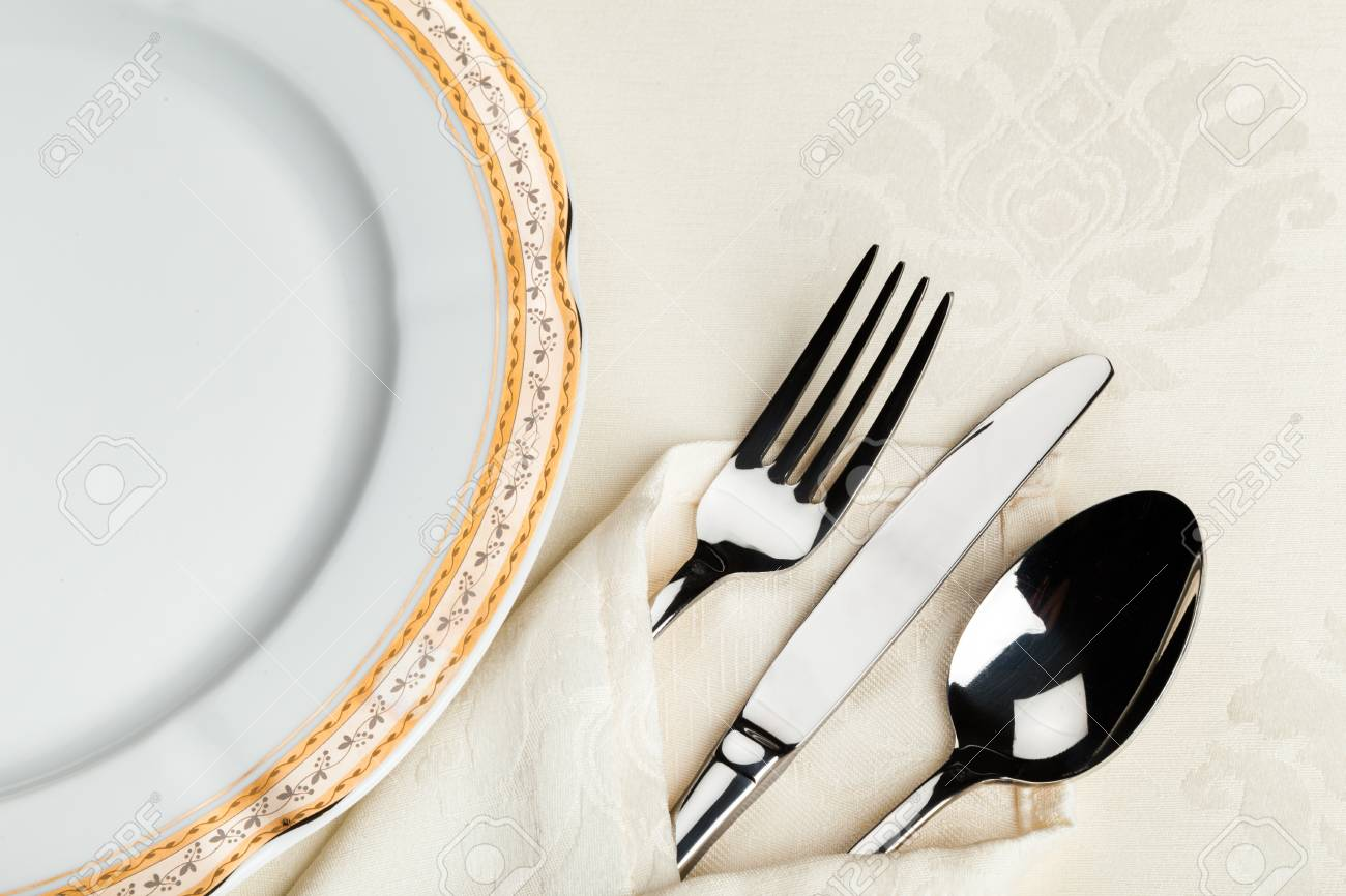 Table Setting with Plate Fork Knife Spoon and Napkin Stock Photo - 93525029 & Table Setting With Plate Fork Knife Spoon And Napkin Stock Photo ...