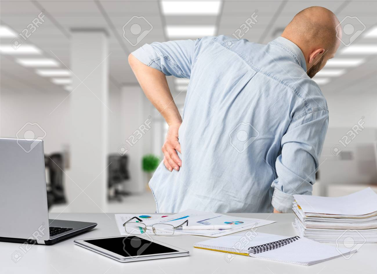 Business Man With Back Pain Sin An Office Pain Relief Concept Stock Photo Picture And Royalty Free Image Image 94693683