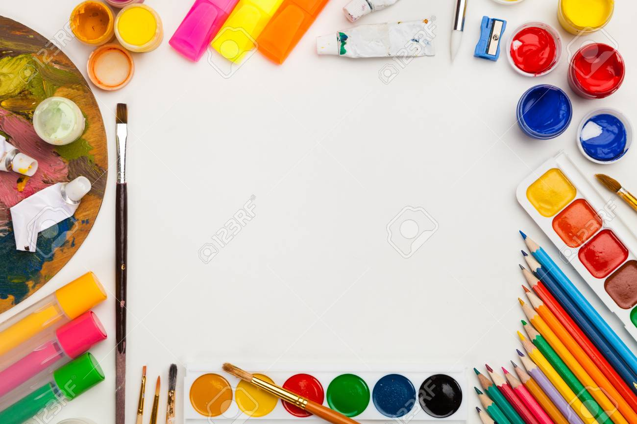 Colorful drawing supplies frame on white background free space,..