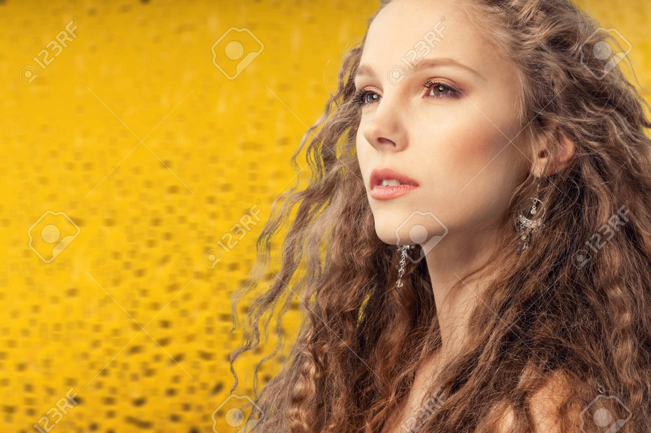Shine Make Up Of Beauty Young Model Star Shine Background Blonde