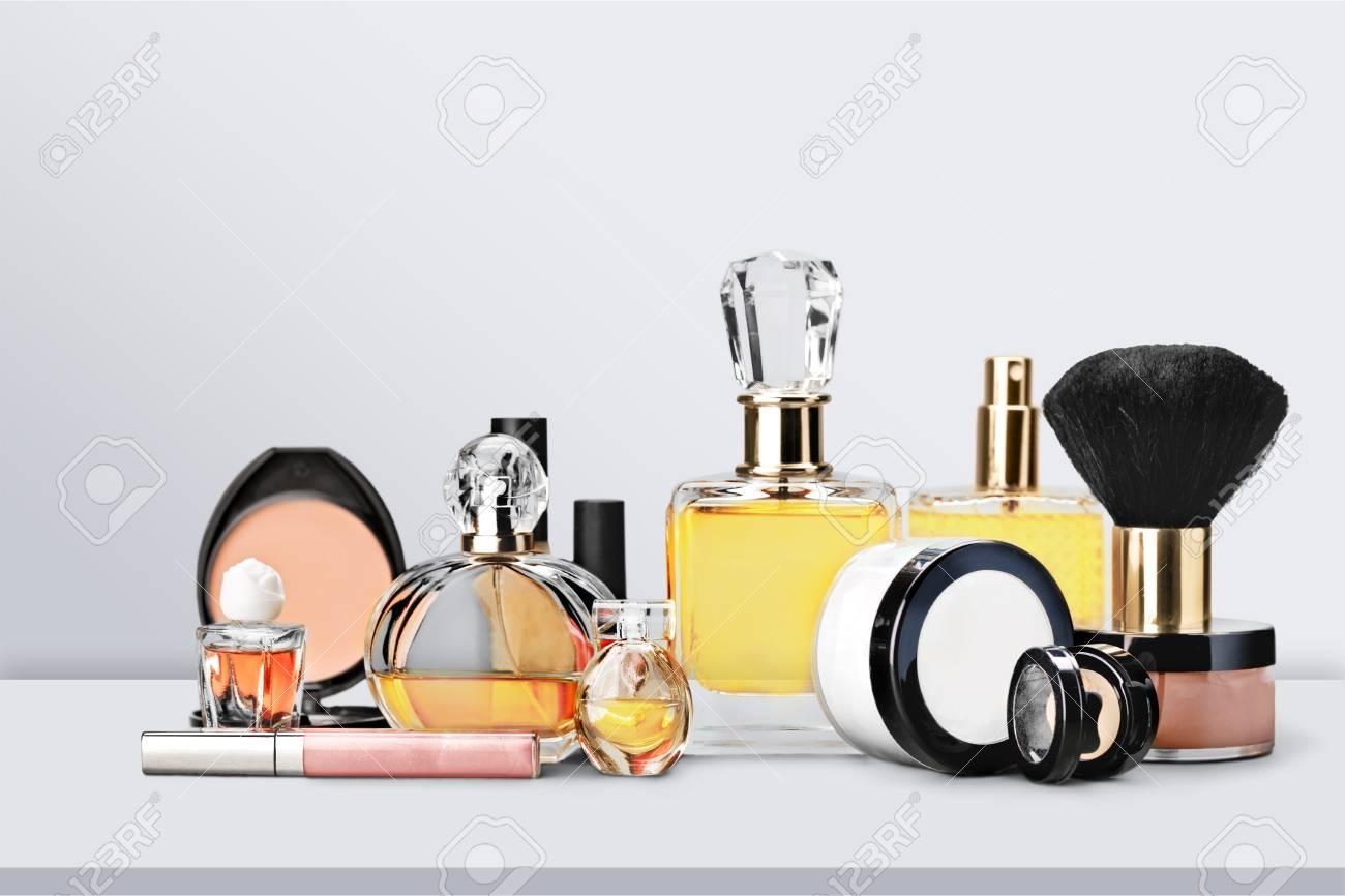 Aromatic Perfume bottles on background - 106364399