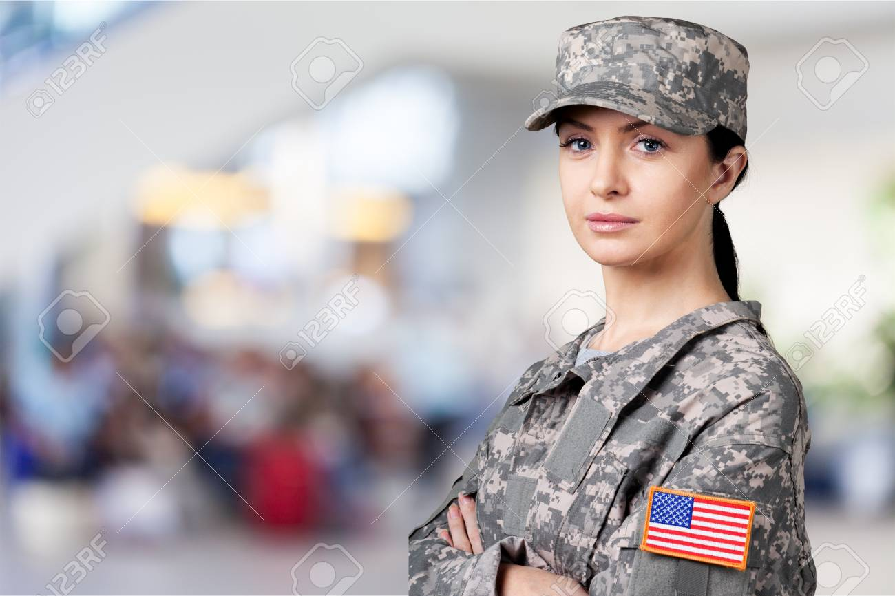 Portrait of Female US Army Soldier - 109685122