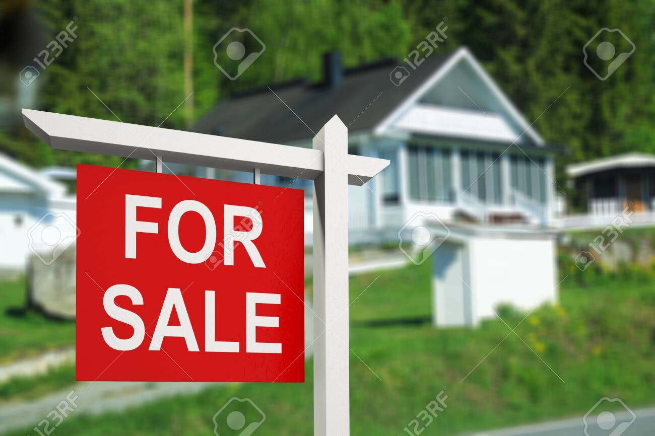 Real estate sign in front of new - 123949528