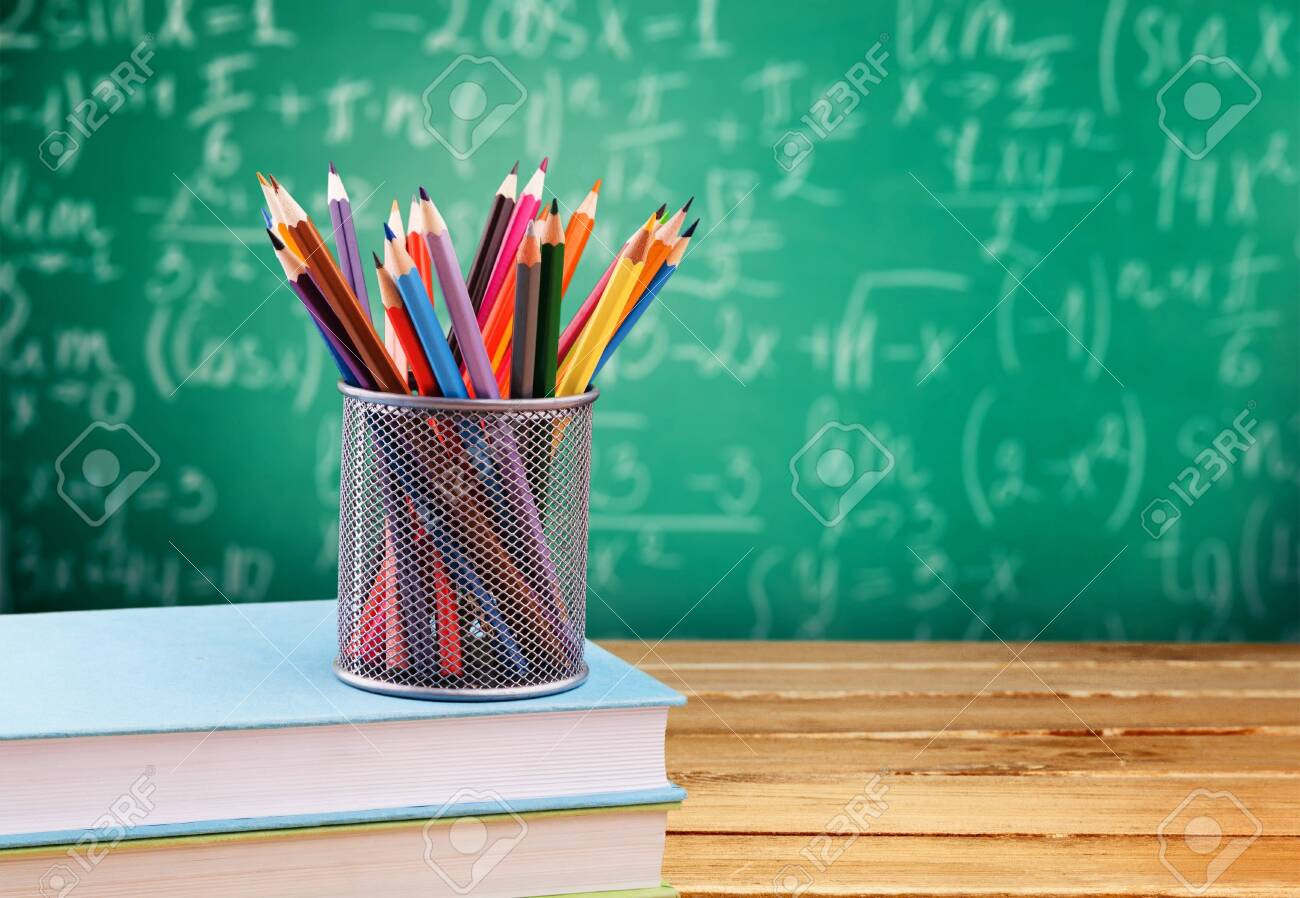 Maths formulas written by chalk on the blackboard background. - 124467001