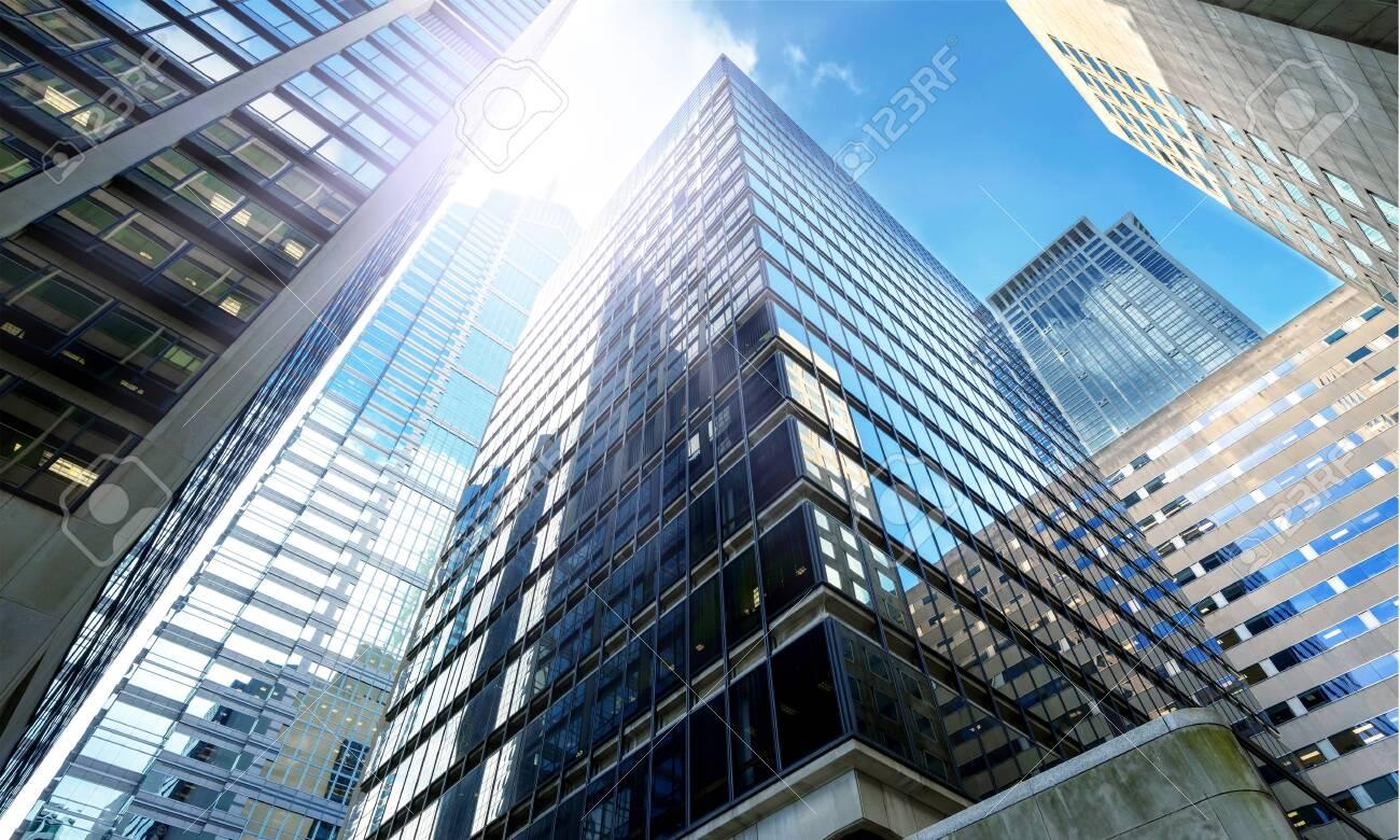 Modern office buildings in city - 124452239