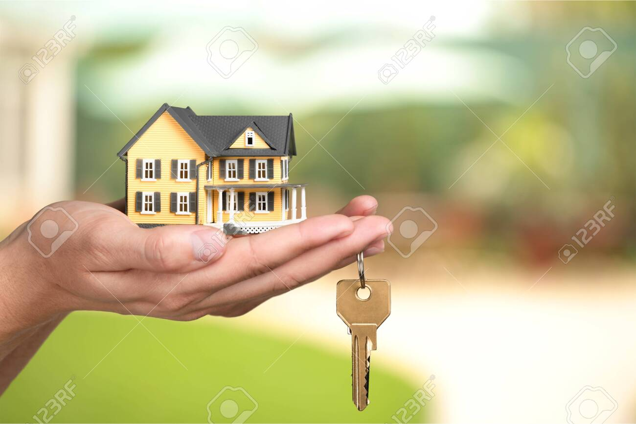 Businessman Holding House Model and Keys, Real - 124314287