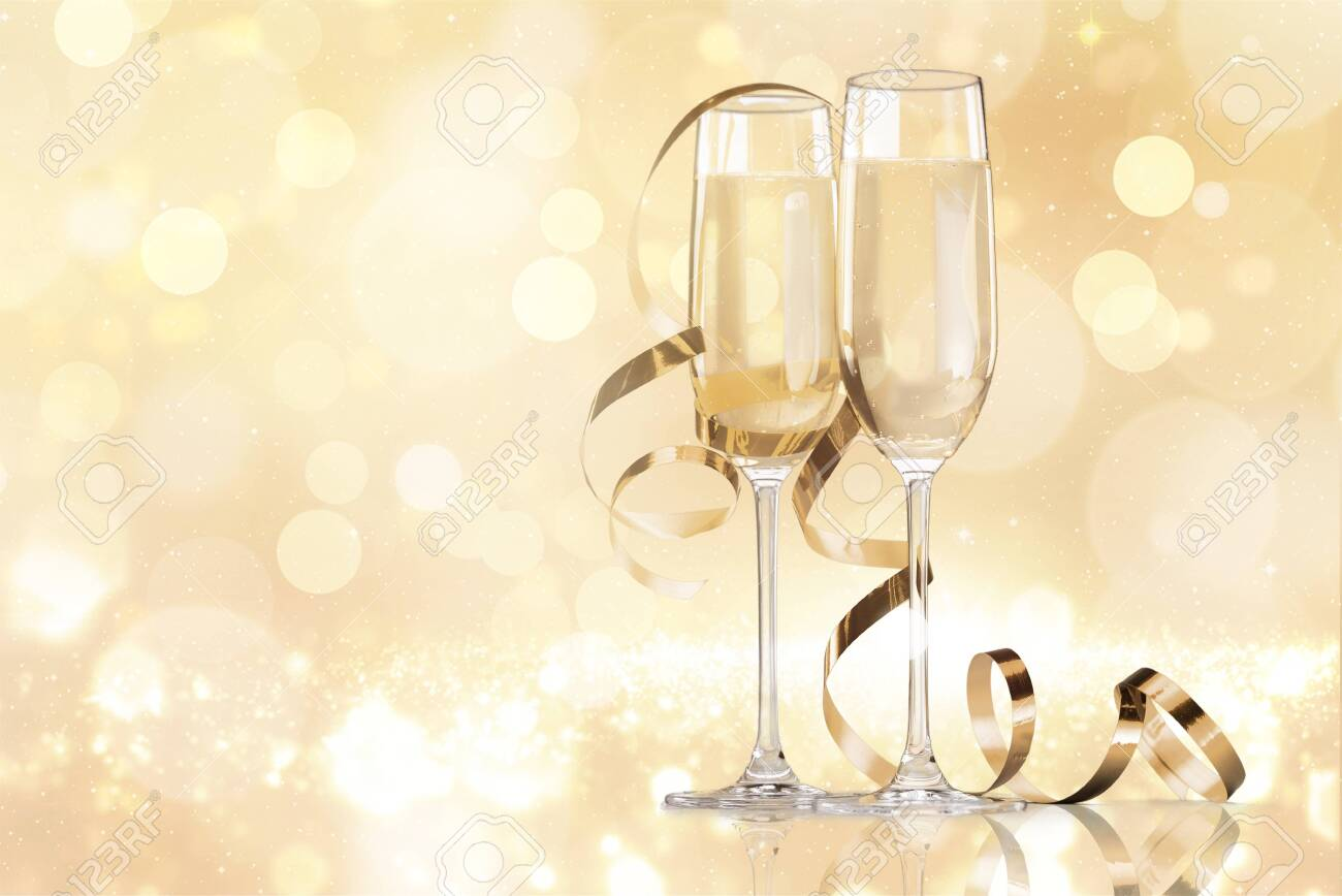 Two glasses of champagne isolated on white background - 124315854