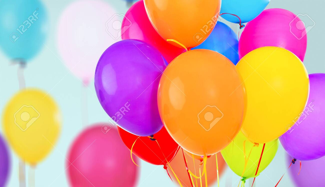 Bunch of colorful balloons on background - 125139931