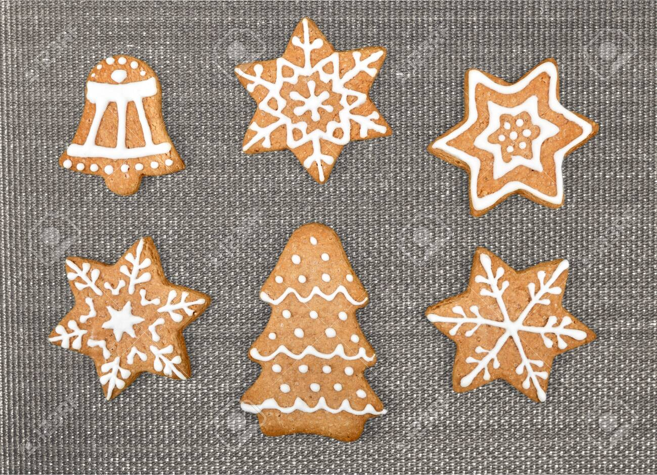 Gingerbread Cookies On White Background Snowflake Star Isolated
