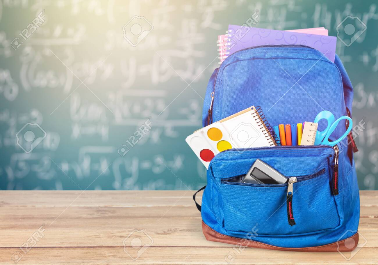 Blue School Backpack on background. - 128244438