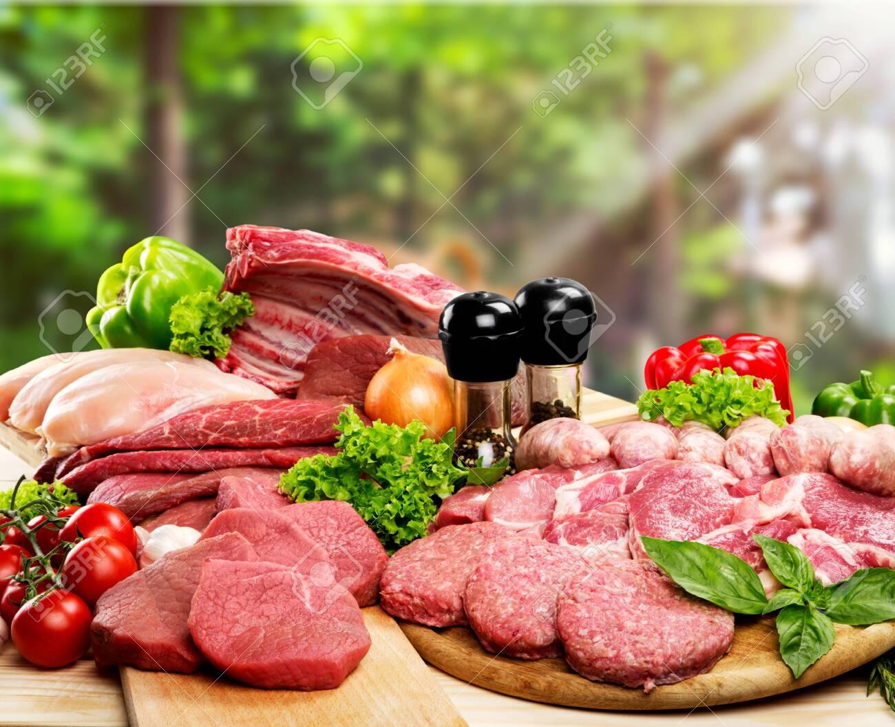 Fresh Raw Meat Background on background - 128026300
