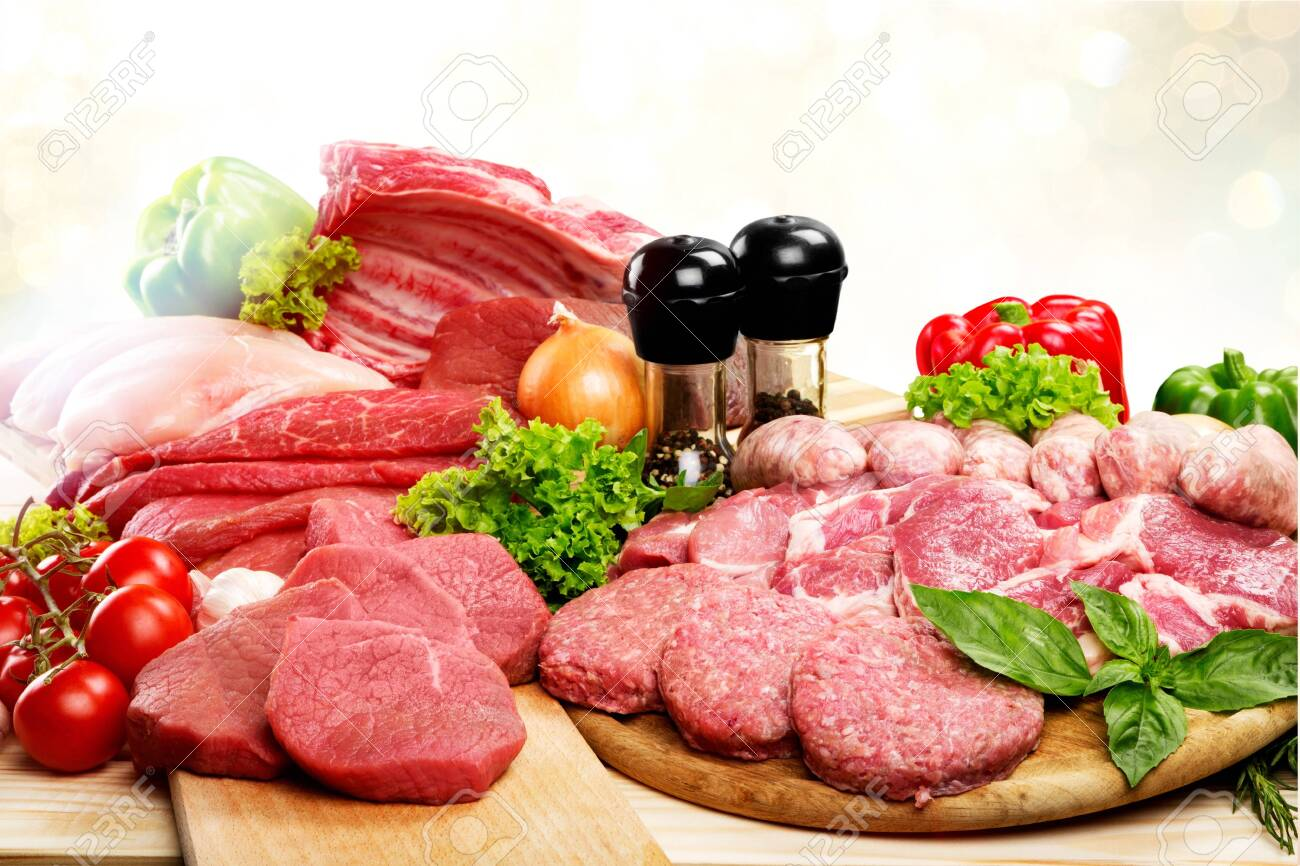 Fresh Raw Meat Background with vegetables - 128032521