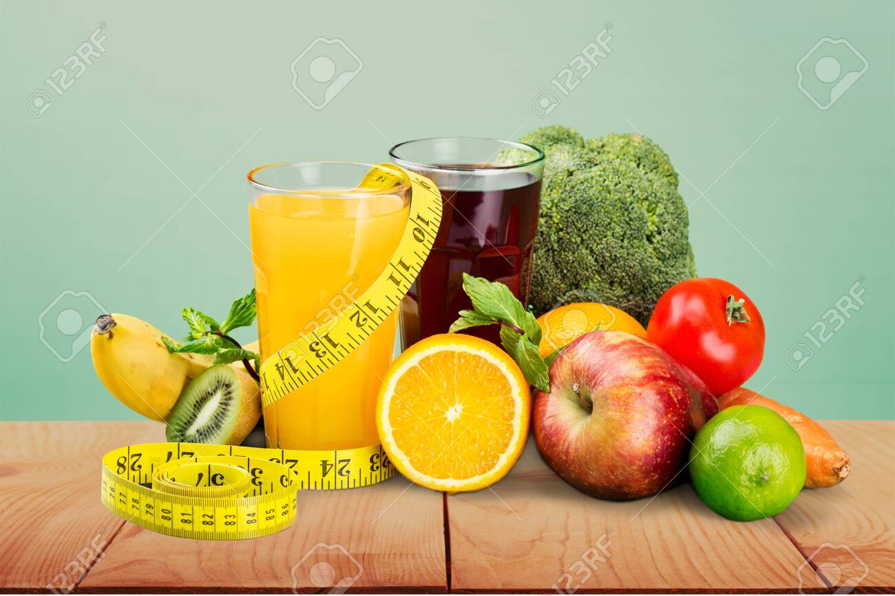 Healthy eating. Fruits, vegetables, juice and stethoscope - 128531557