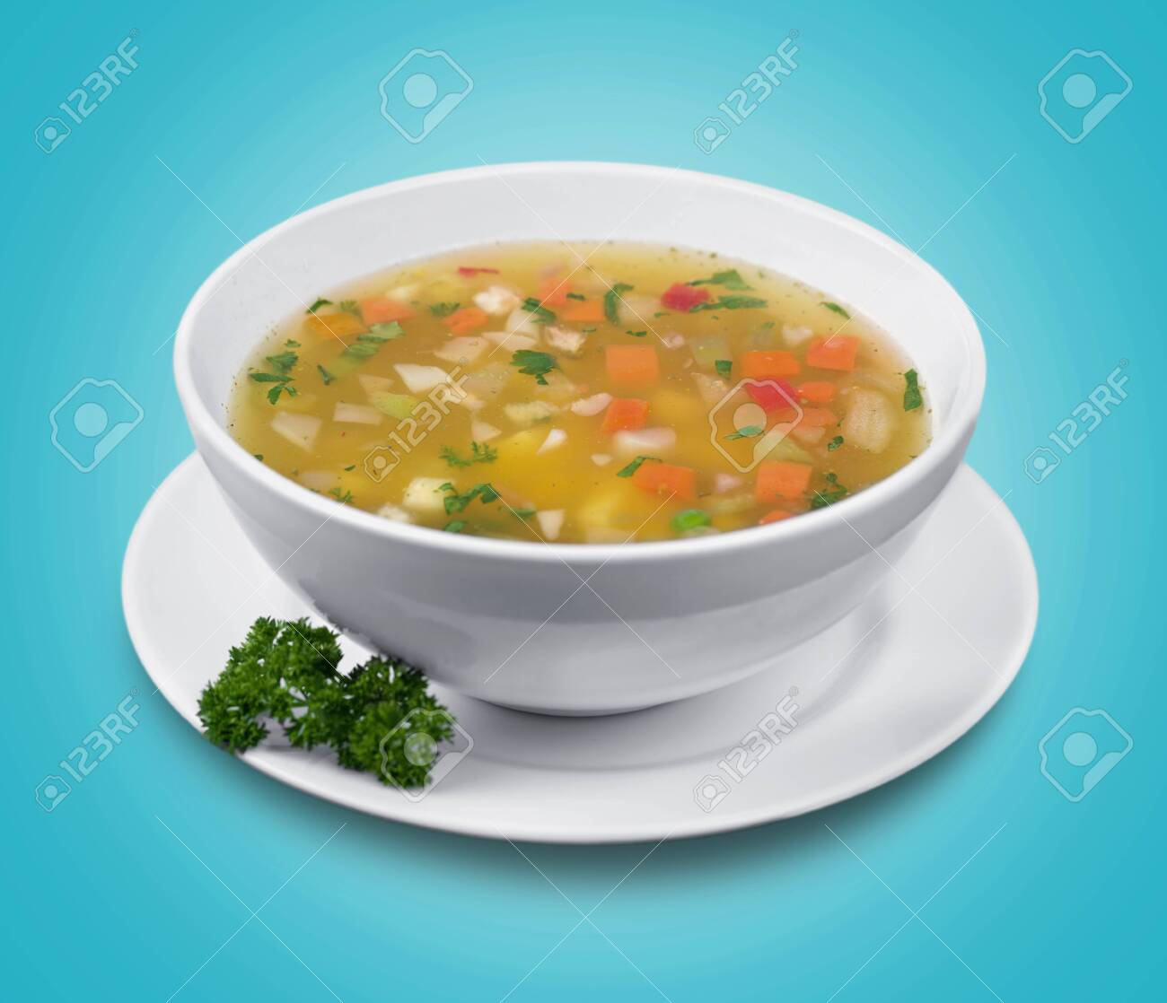 Bowl of delicious vegetables soup on table - 128709565