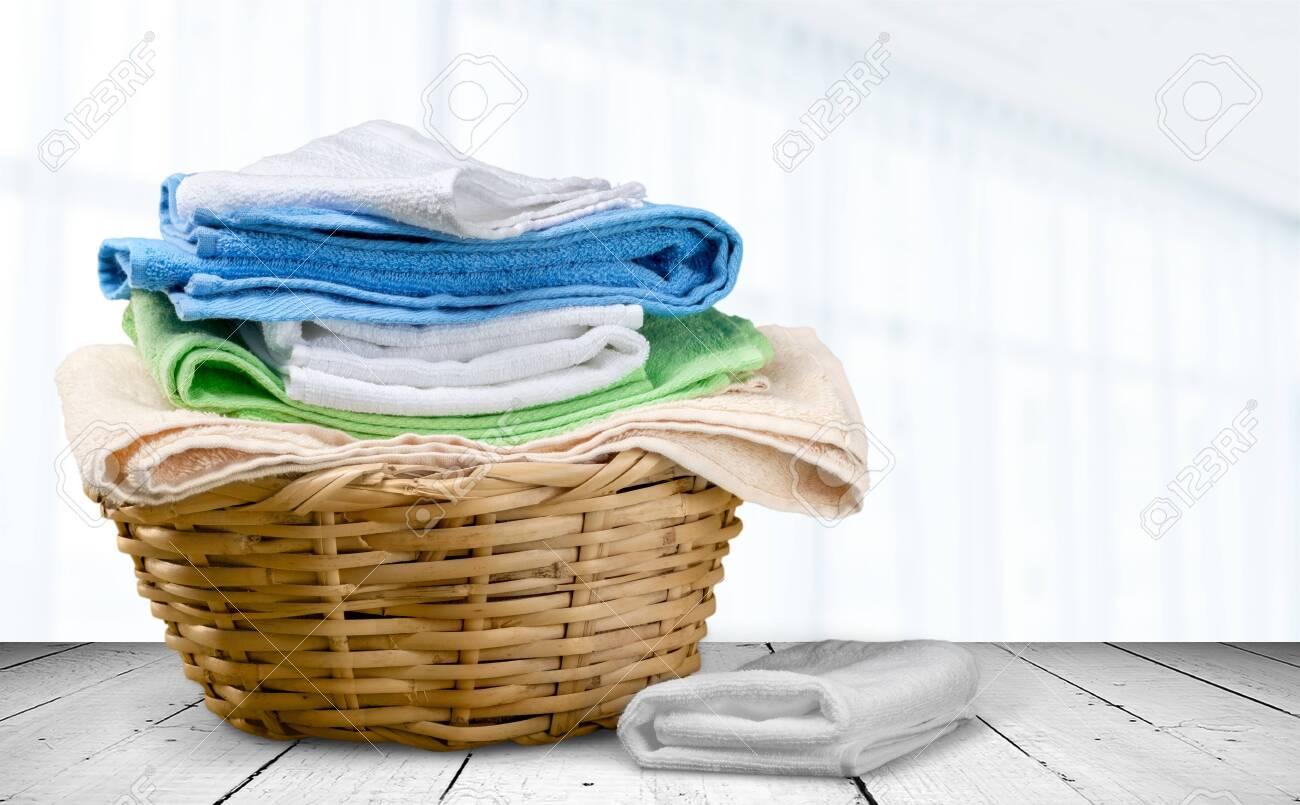 Colorful Towwel on basket - 128521425