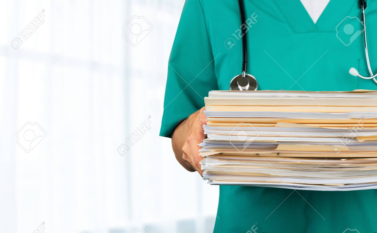Medicine doctor man with documents ,closeup - 128880718