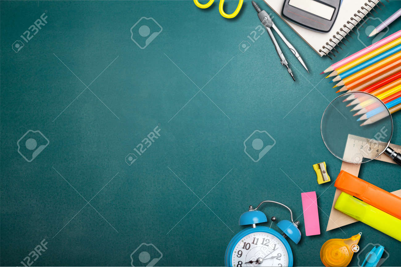 School supplies on black board background. Back to school concept - 128901293