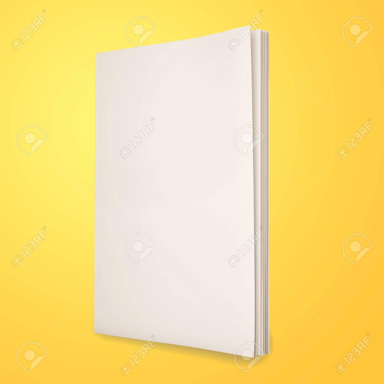Blank magazines on yellow background - 134255127