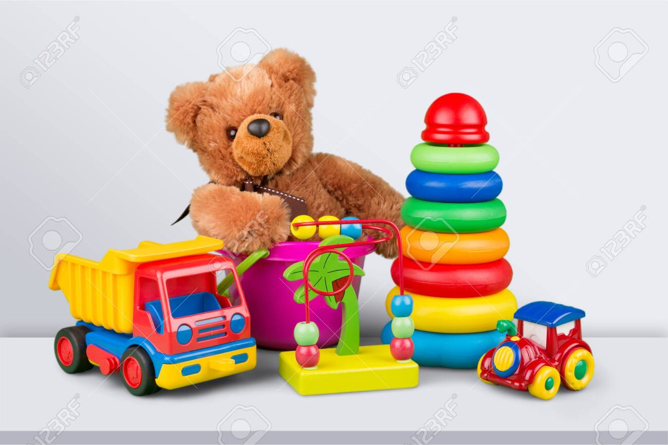 Toys collection isolated on background - 129160737