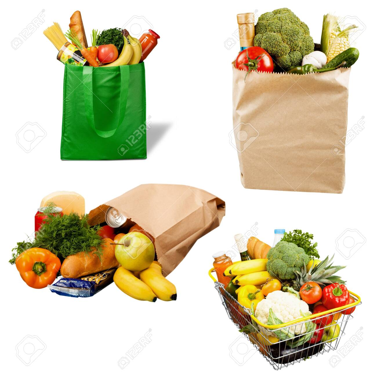 Full shopping bag, isolated over background - 130160040