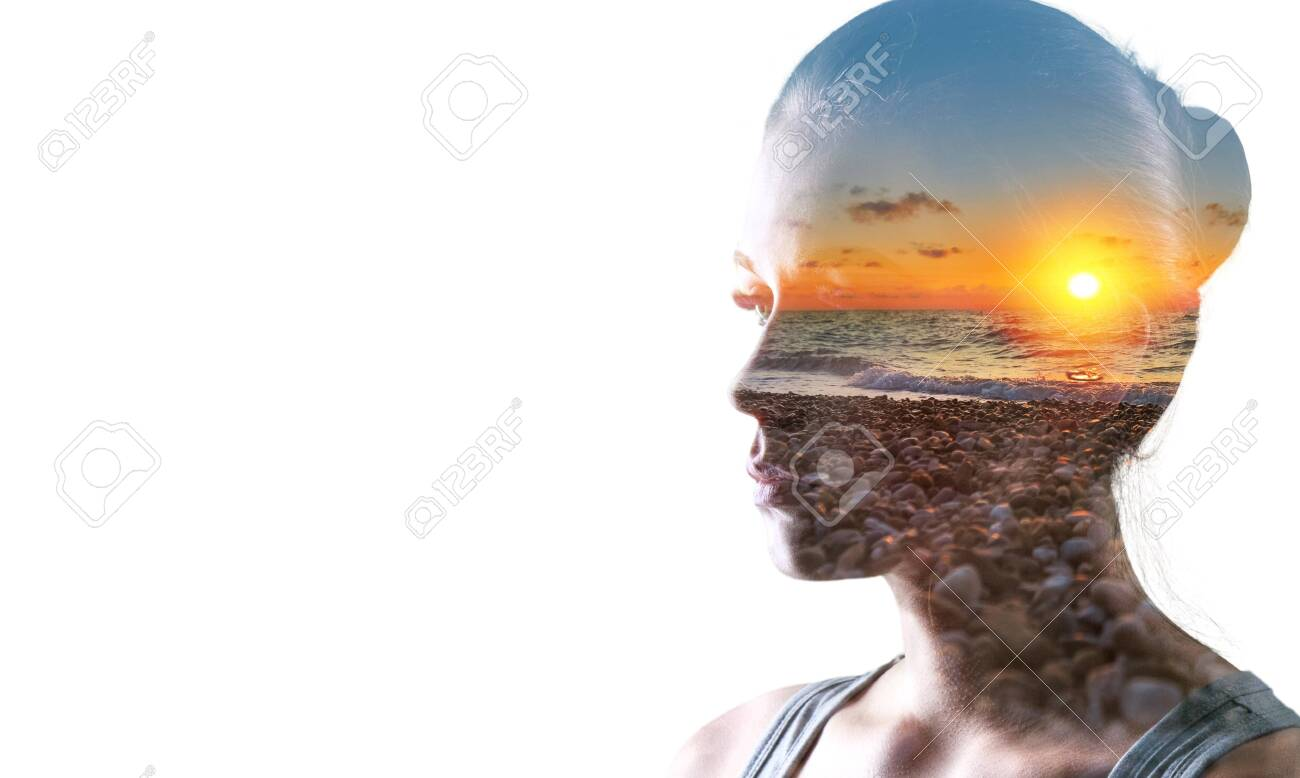 Psychoanalysis and meditation, concept. Profile of a young woman and sunset over the ocean, calm and mental health. Image with double exposure effect. The subconscious and how the brain works. - Image - 133629811