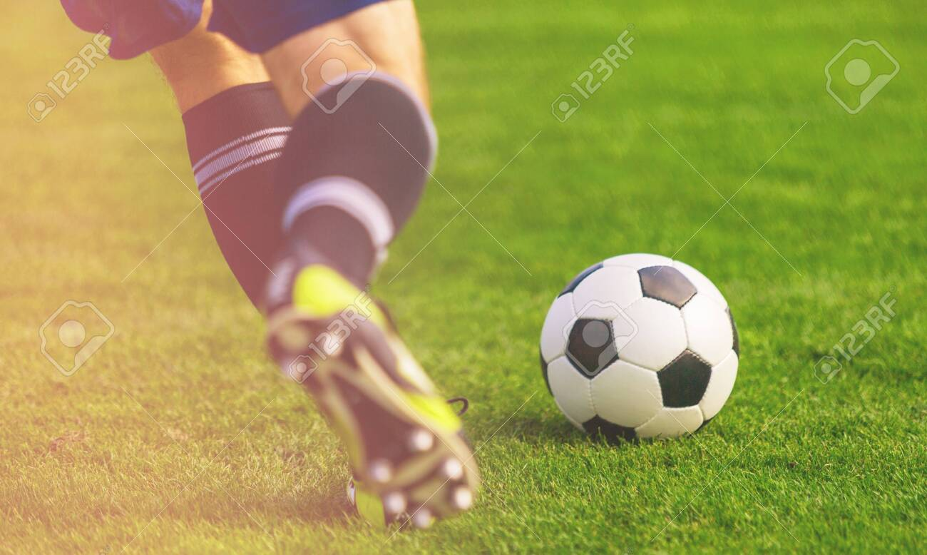 Soccer ball on the field of football - 133652865