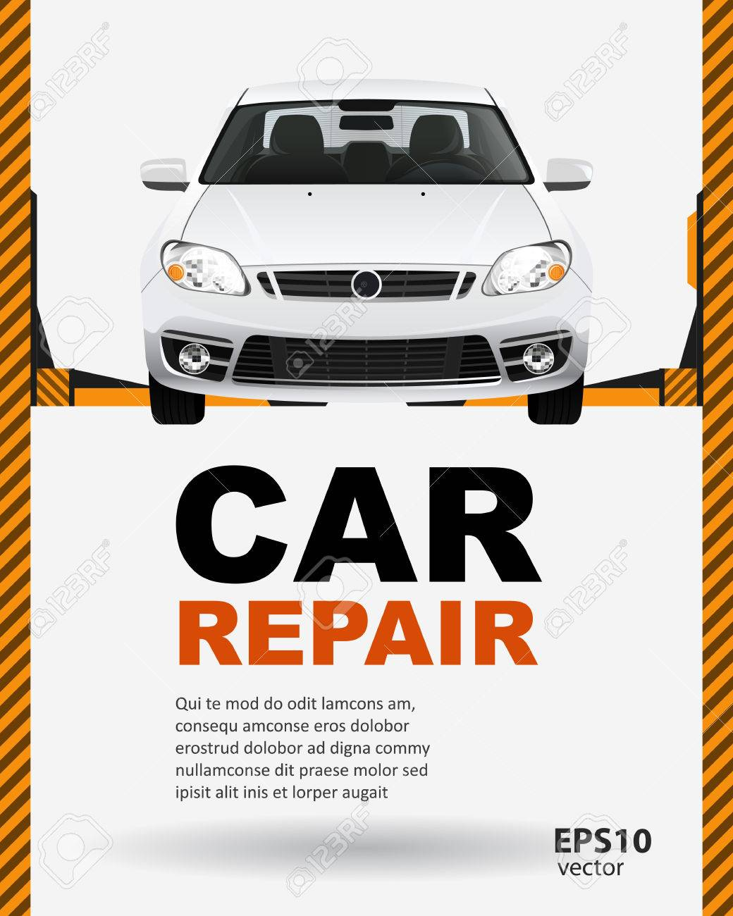 Car repair lift template layout creative color illustration background. - 50351165
