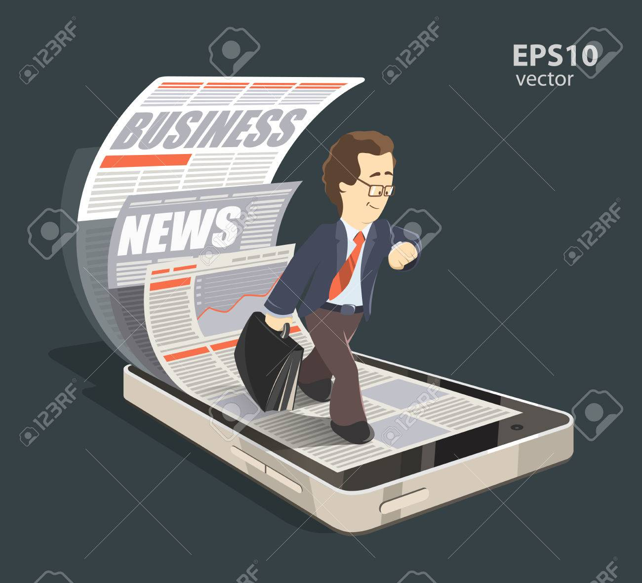 Mobile internet business news creative concept color 3d illustration. Young smile successful businessman reading new press using his mobile phone, smartphone. - 50568726