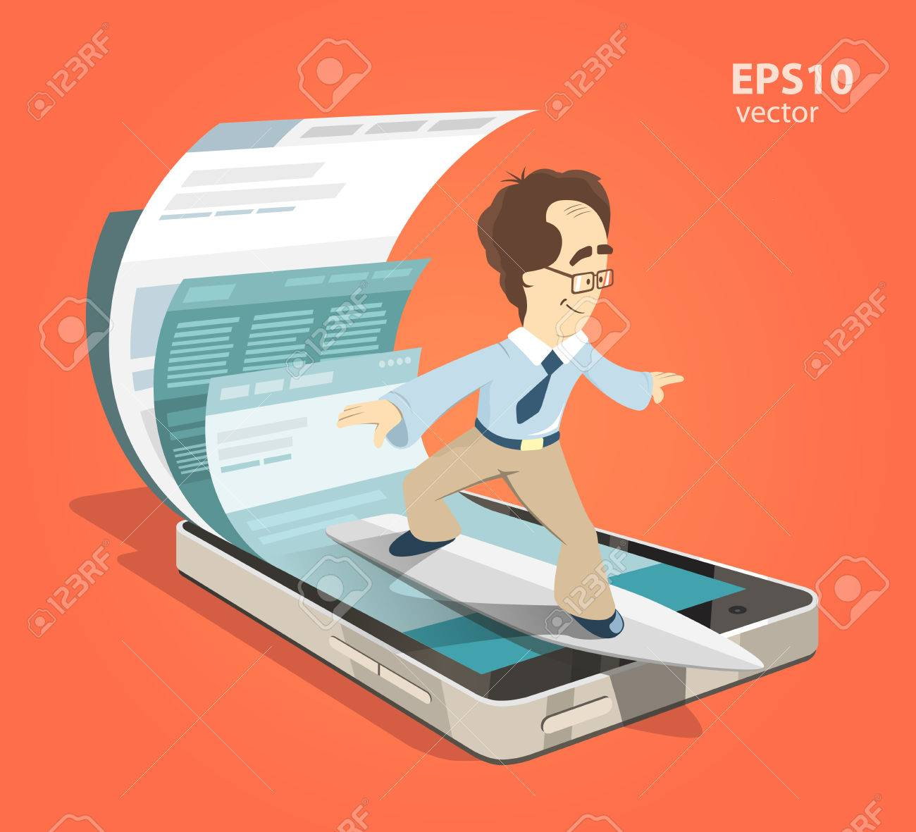 Fast speed mobile internet surfing. Man businessman on surfboard. Search information using smartphone. Color vector illustration creative concept. - 50568934