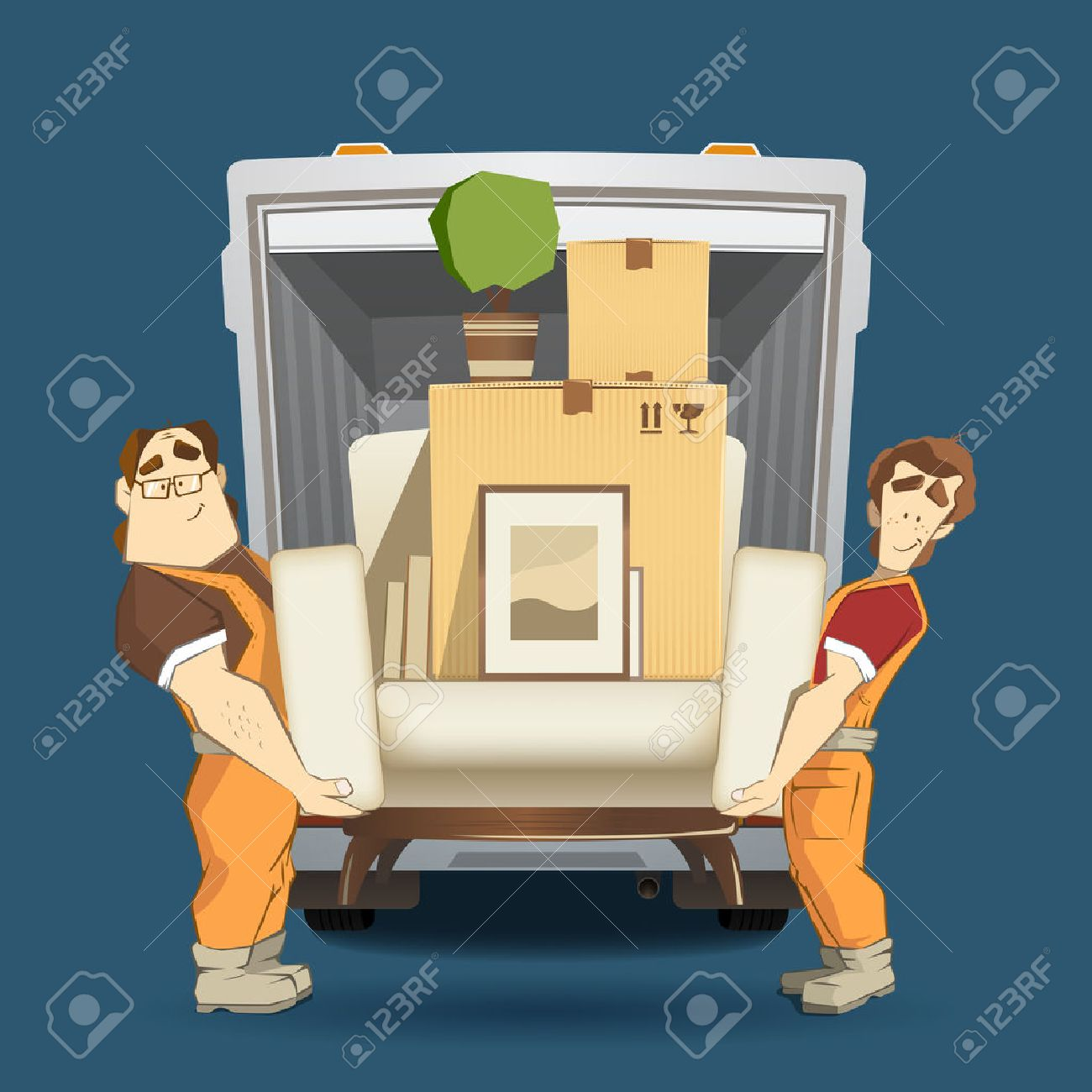Two loaders movers man holding and carrying armchair with cardboard box, flower, pictures and books. Moving services 3d creative concept and conceptual color vector illustration. - 50568933