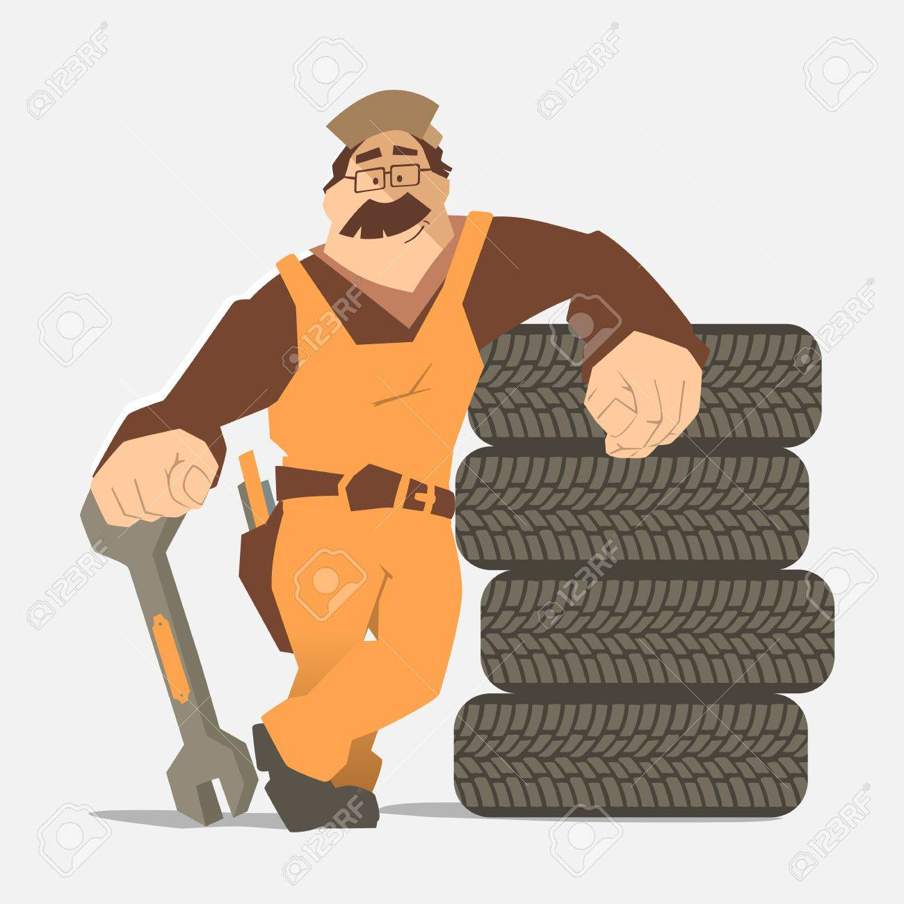Strong smile man holding wrench and leaning on a stack of wheel. Car tire tyre service illustration. - 50570053