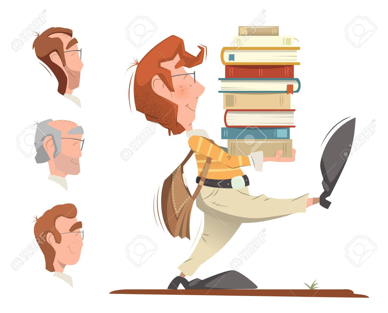 Smart clever student holding and carrying a heap pile stack of books and going forward. Color illustration. - 50570059