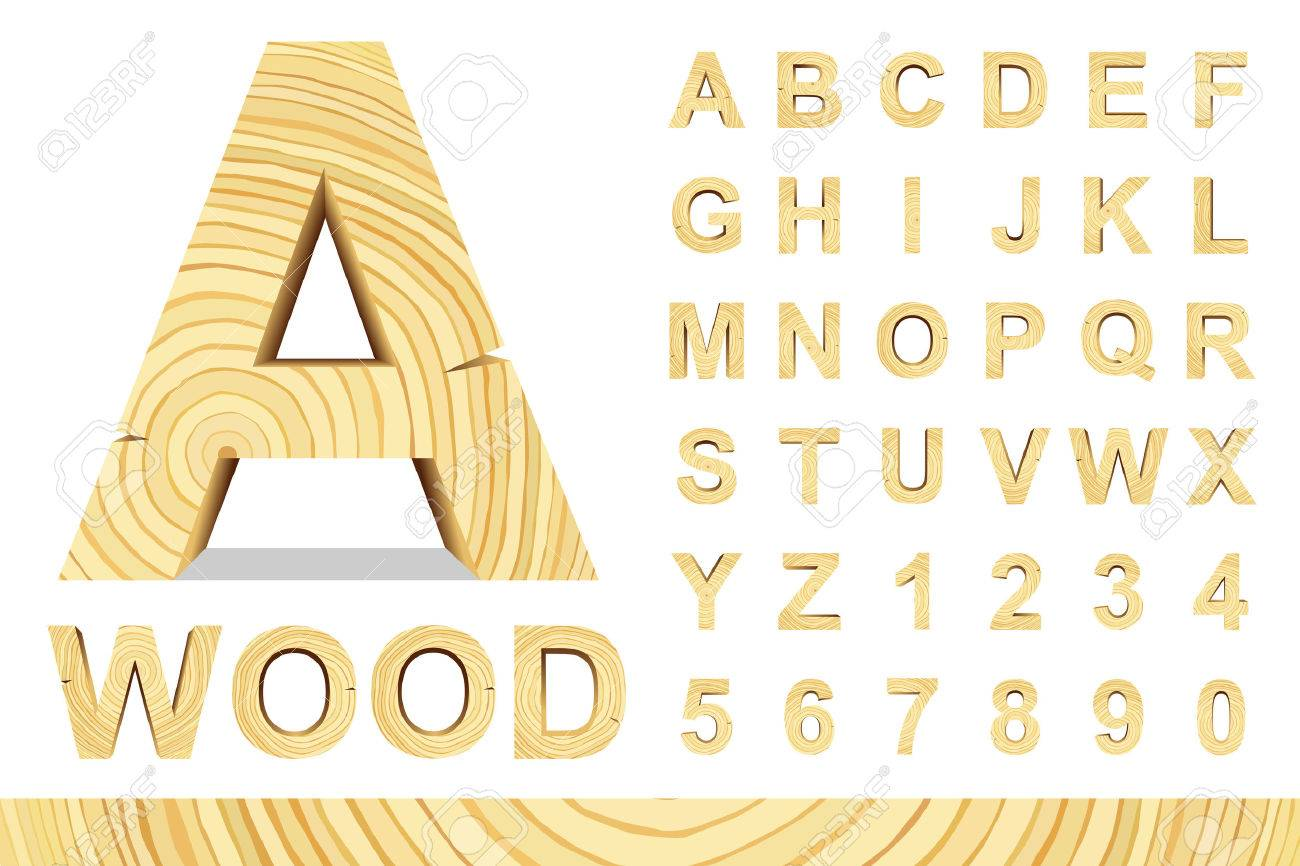 Wooden alphabet blocks with letters and numbers, vector set with all letters, for your text message, title or design. Isolated over white. - 50570064
