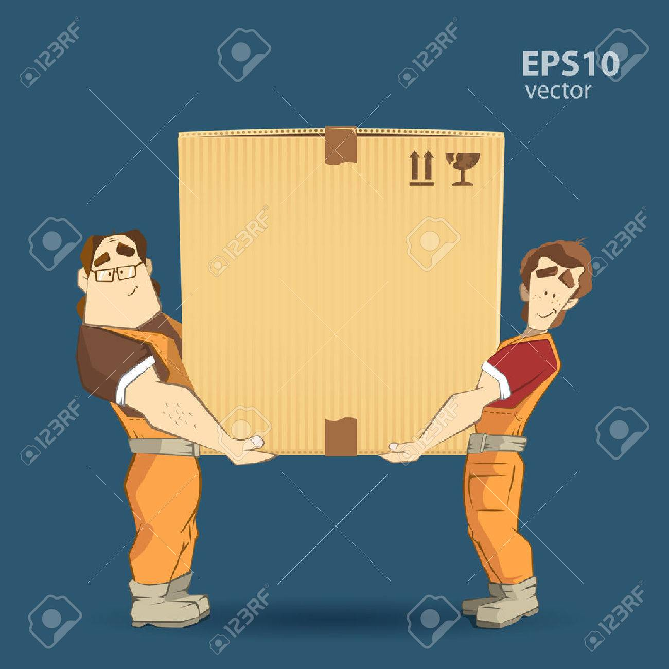 Transportation and delivery company illustration. Two workers mover man holding and carrying big heavy carton cardboard box. 3d color vector creative concept with characters. - 50570467