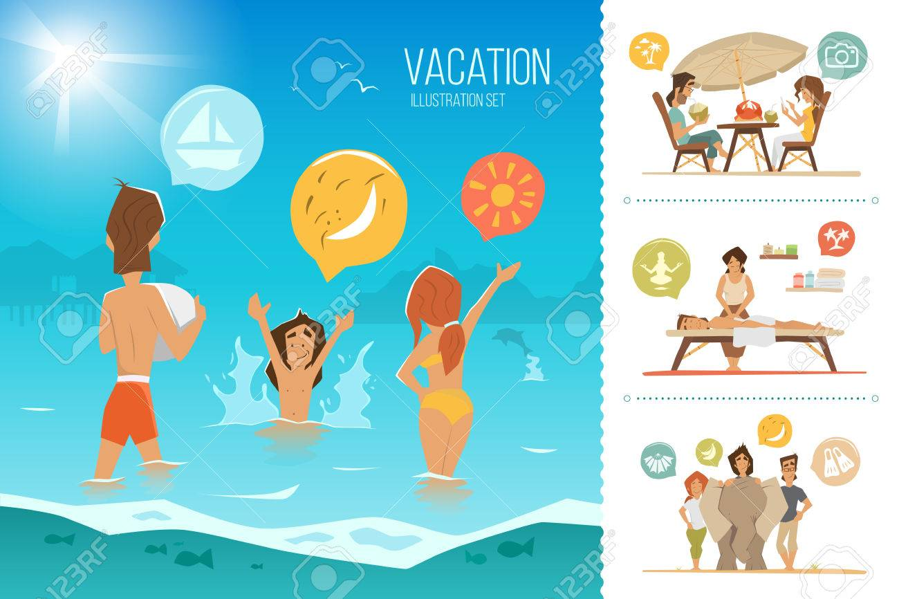Family summer vacation illustration set. Happy mother, father and his child kid, playing on the beach. - 50570745
