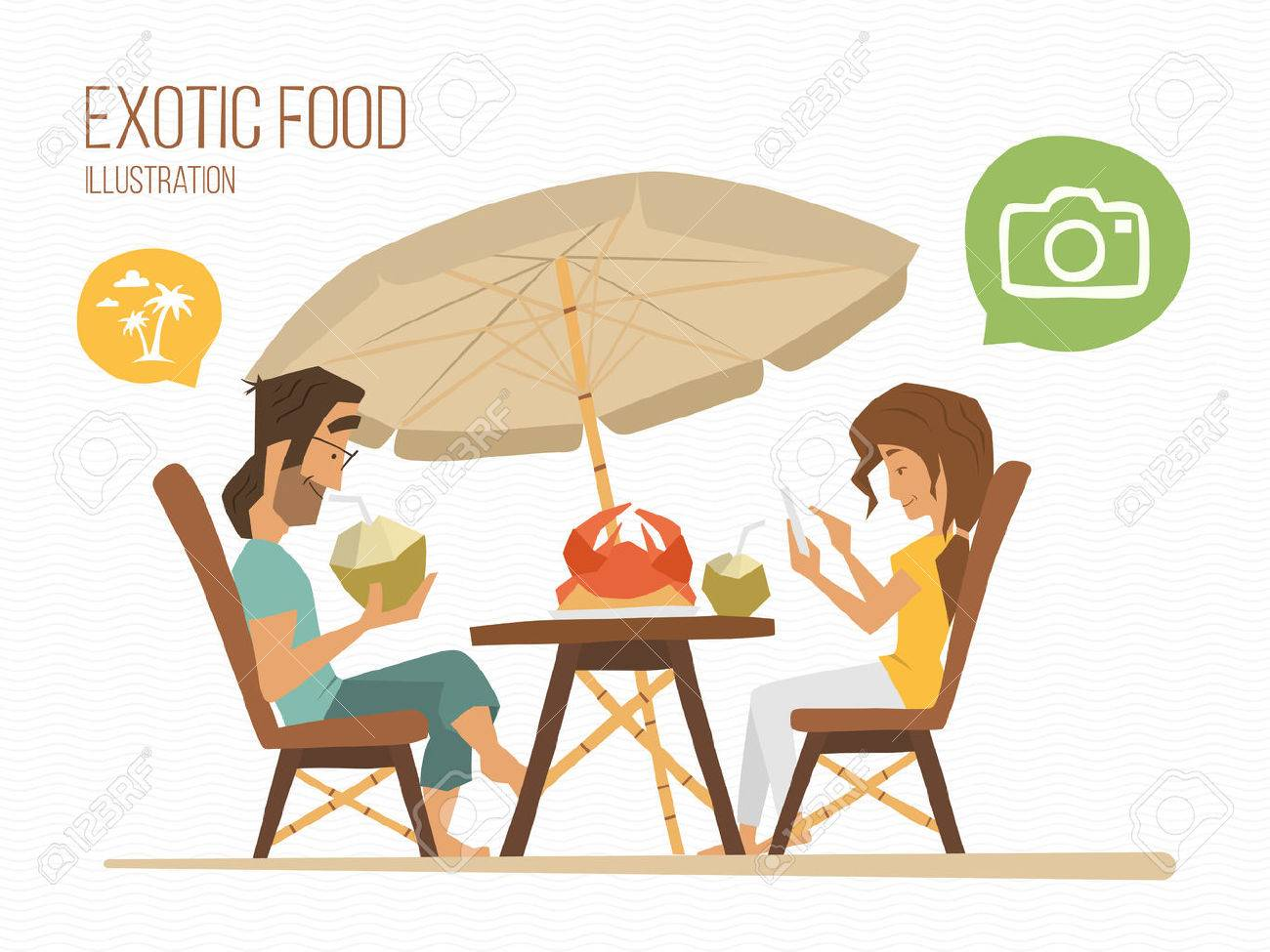 Couple man and woman sitting in a tropical street cafe, eating exotic food. Foto de archivo - 50570764