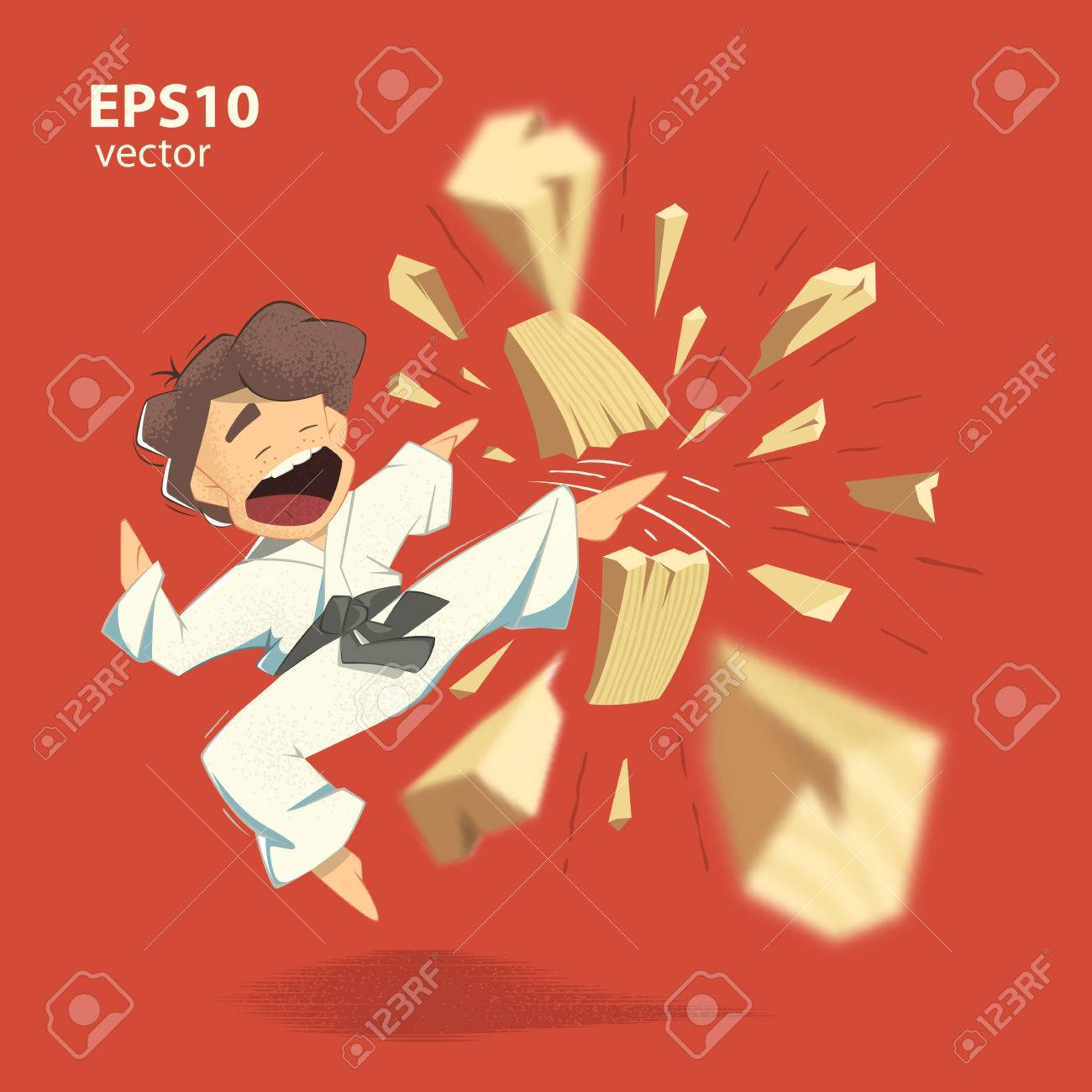 Cartoon character karate kid breaking wooden board illustration - 50570865