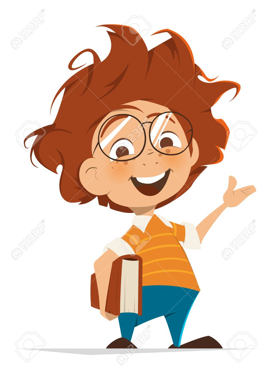 Vector character illustration of School kid with book and glasses pointing hand - 69360223