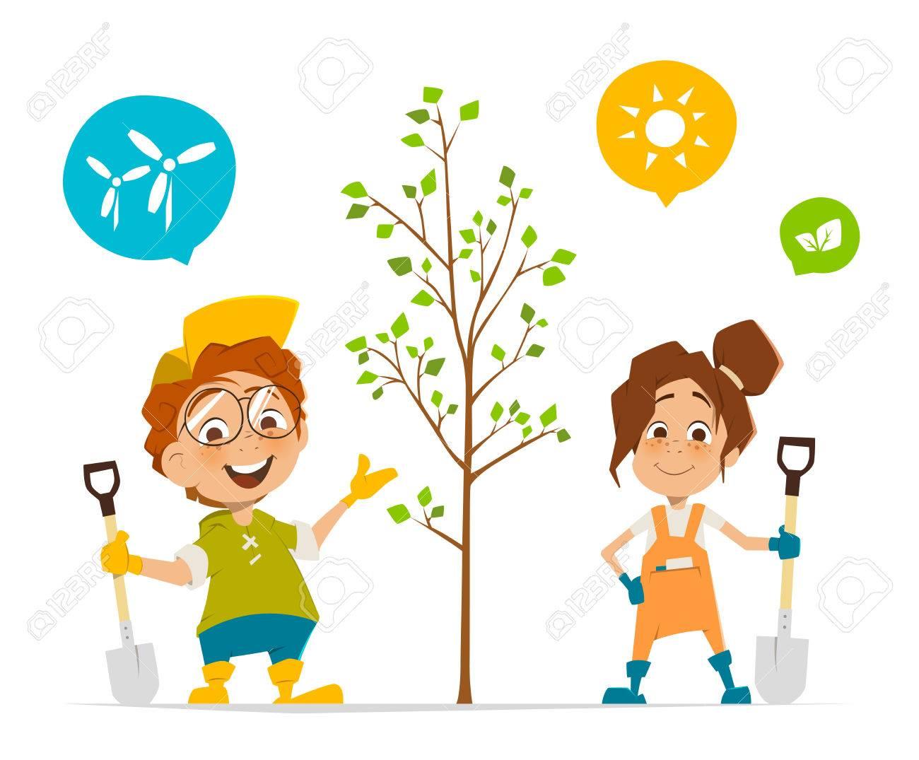 2 人の子供の男の子と女の子の木を植えることのベクトル文字イラストの