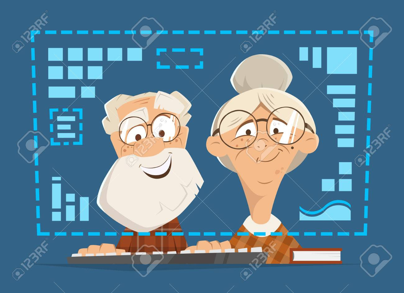 Old man and woman sitting in front of the computer monitor. Online people education concept. - 69360260