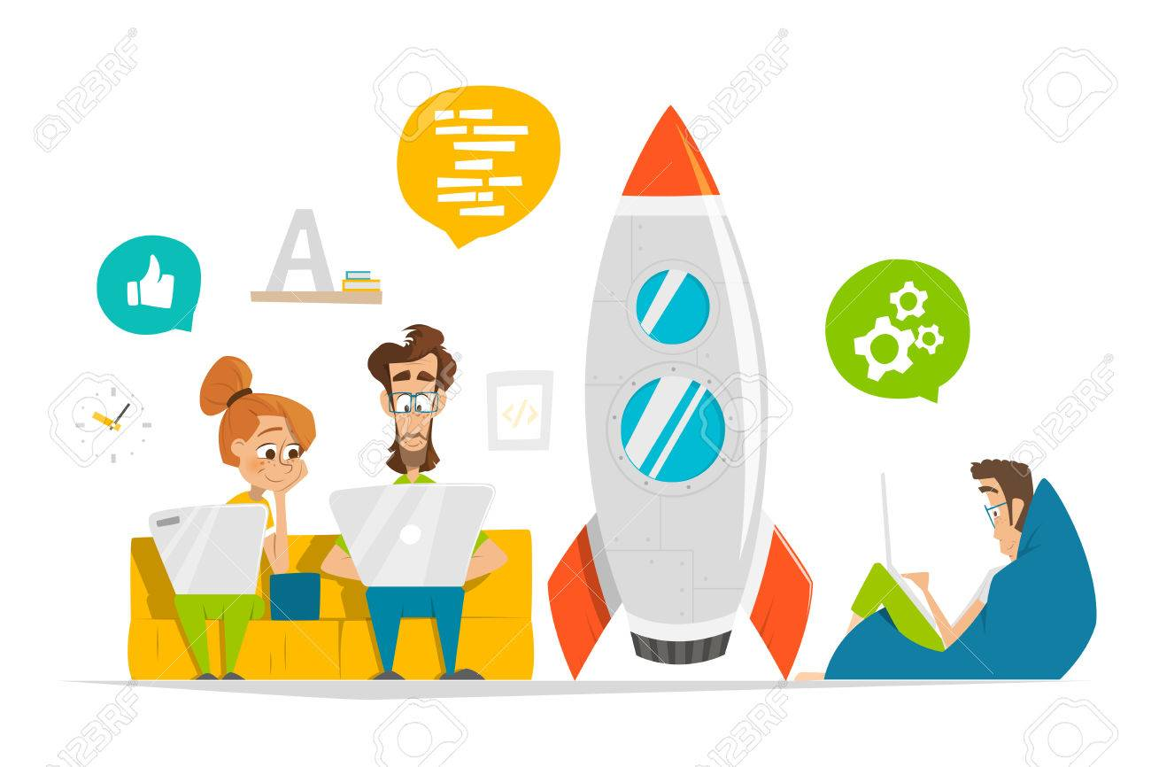 Young team working on new startup start up in modern office Business entrepreneur characters people illustration - 69360227