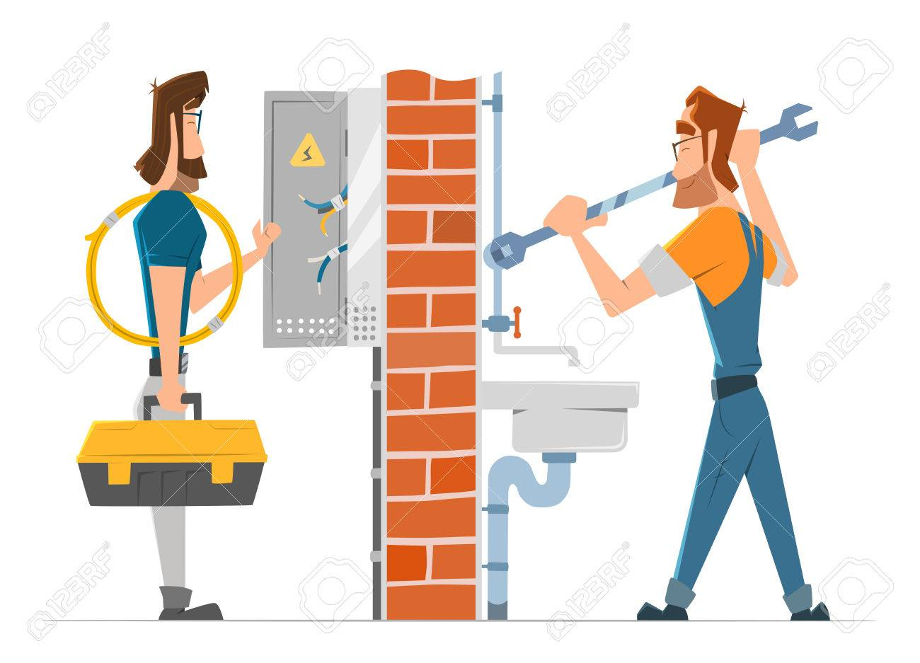Electrician and plumber man working. Home house repair service. Color vector illustration. - 69360299