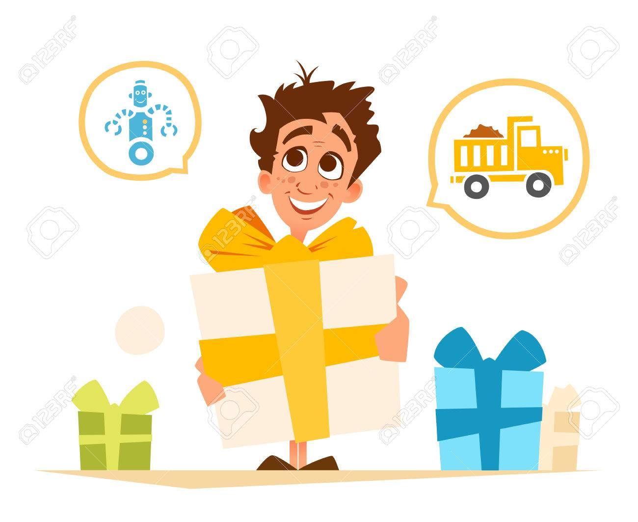 Color vector illustration of happy smile boy child kid and big gift box - 83392776