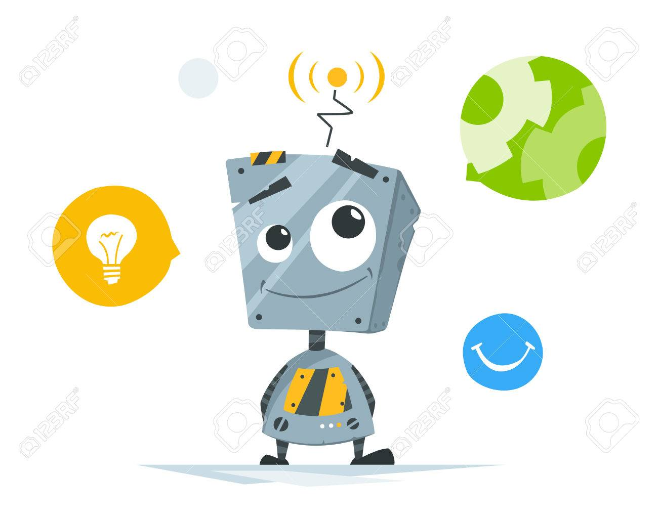 Cute little robot with round icons vector illustration. - 84273538