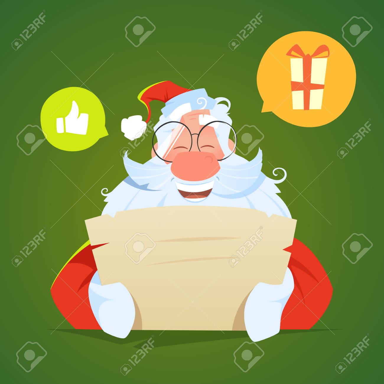 Happy smile santa claus reading a letter and laughs - 88896312