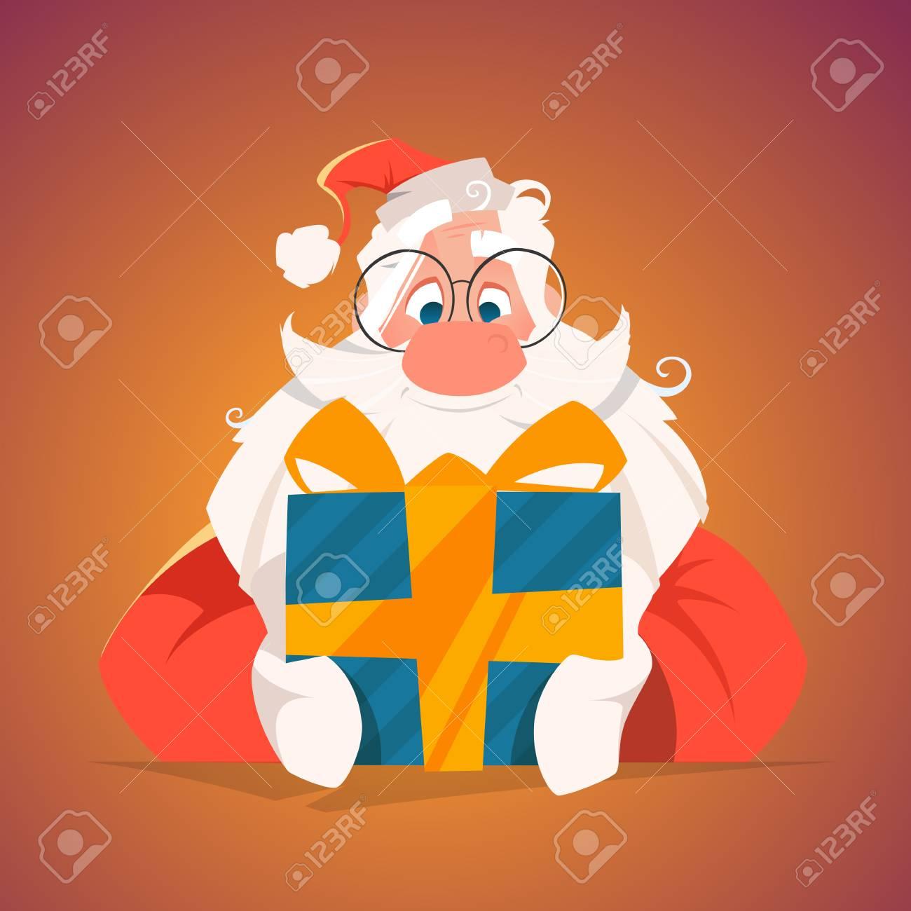 Happy santa holding a gift box - 88896319