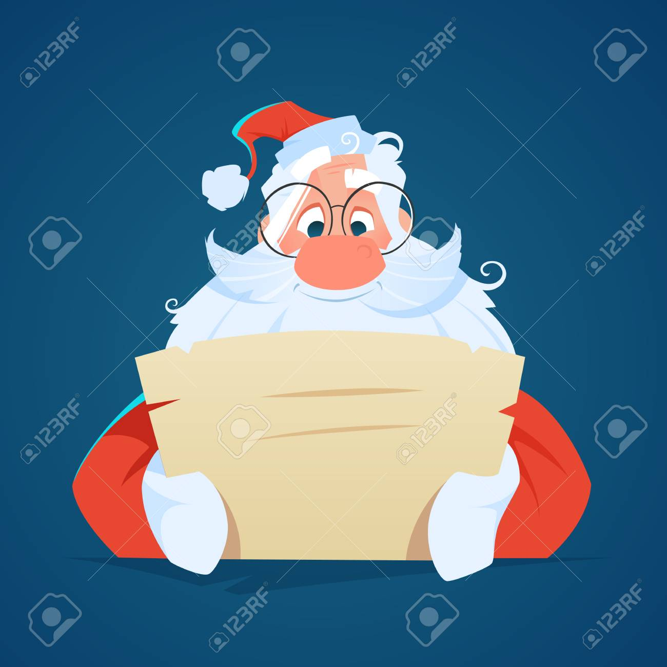 Happy smile santa claus reading a letter - 87974548