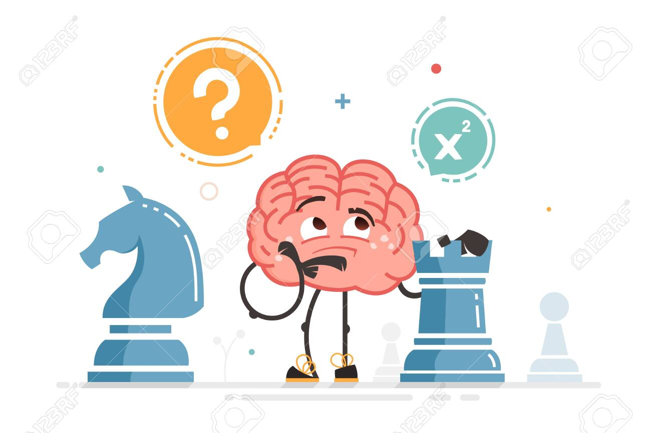 Vector brain character play chess thinking holding chess figure - 146558439