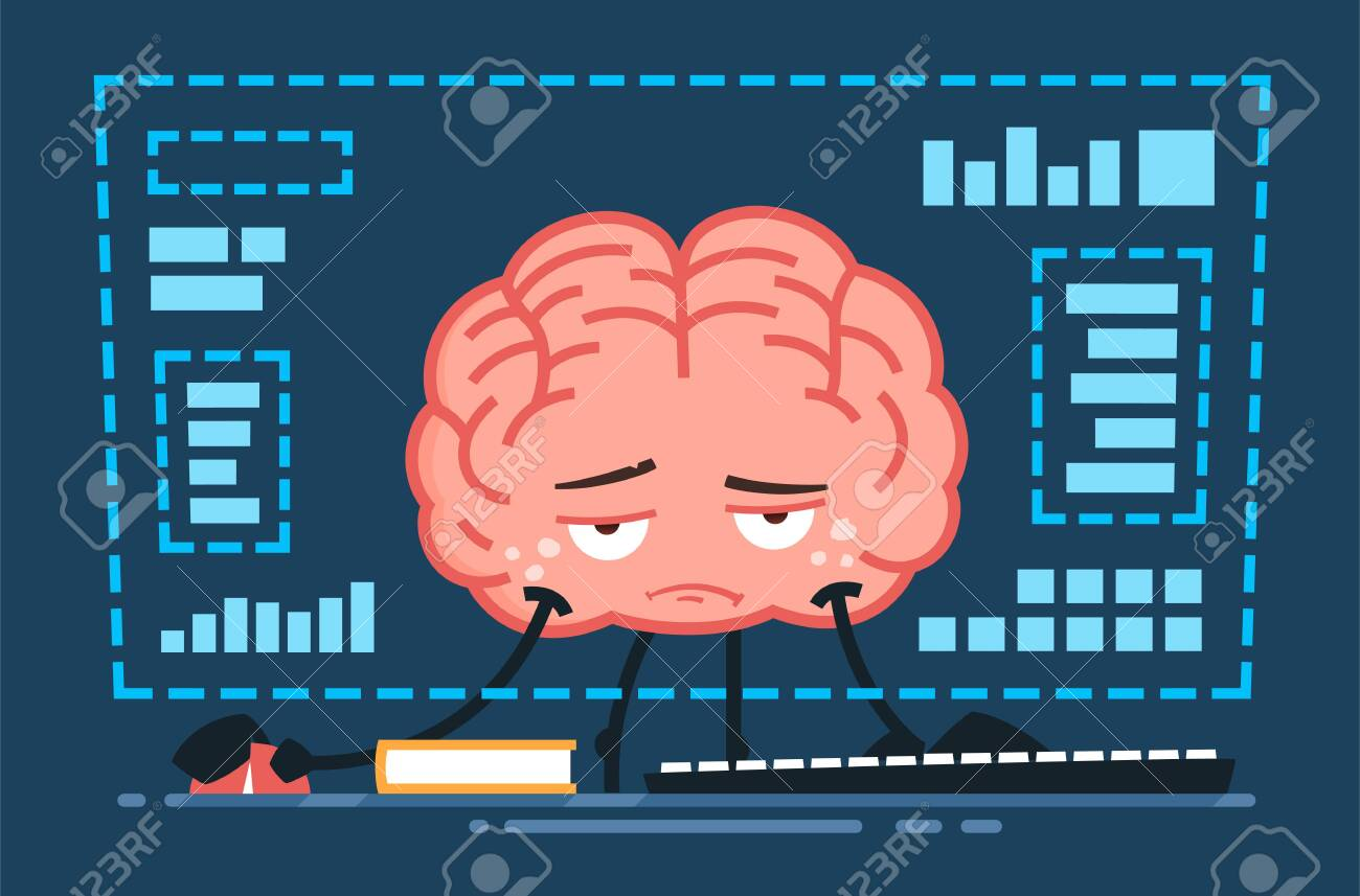 tired vector brain character working in front of the computer at night - 146541745