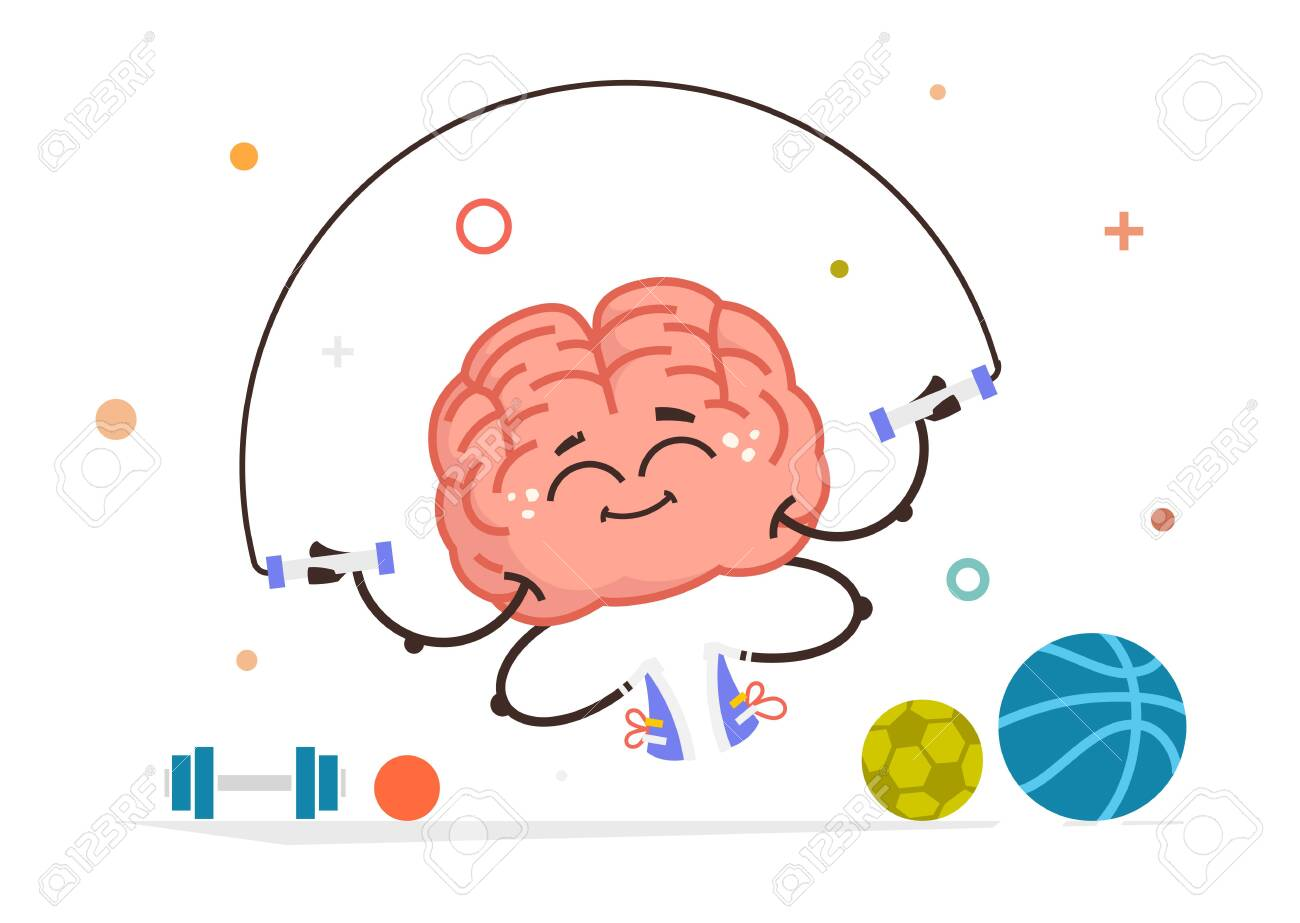 healthy brain vector character do sport with a skipping rope - 146573460